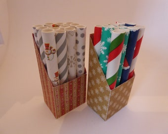 Handmade miniature Christmas Wrapping Paper/Gift Wrap Display in 12th scale