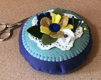Wool Felt Pincushion Blue Floral