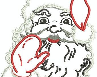 Santa Head Applique Machine Embroidery Design