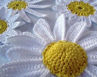 Crochet Flowers PATTERN, Daisy Flowers Pattern, DIY Crochet Flowers, Crochet Flower Applique, 3d Flowers, Instant Download, PDF Pattern #22