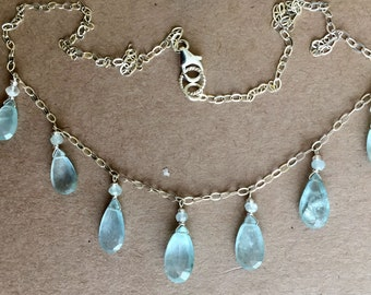 Aquamarine Necklace, Gemstone Queen of the Sea Necklace, #3 G ONE OF A KIND , crossposted
