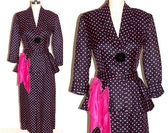 1940s Suit 40s POLKA DOT Peplum Suit, Vintage 40s Peplum Jacket & Pencil Skirt, Fit and Flare Women's Skirt Suit, Arthur Weiss Original