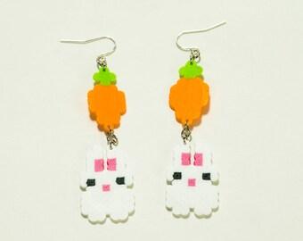 Hi Bunny! Carrot and Bunny 8 bit perler bead earrings