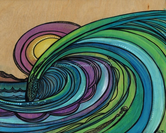 8x10 Giclee Print Stained Glass Barreling Wave and Sunset by Lauren Tannehill ART