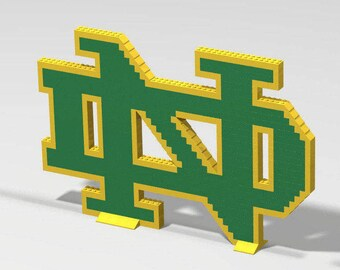 """LEGO University of Notre Dame Fighting Irish Brick Logo Construction Set with Printed Color Guide! (11"""" x 17"""")"""