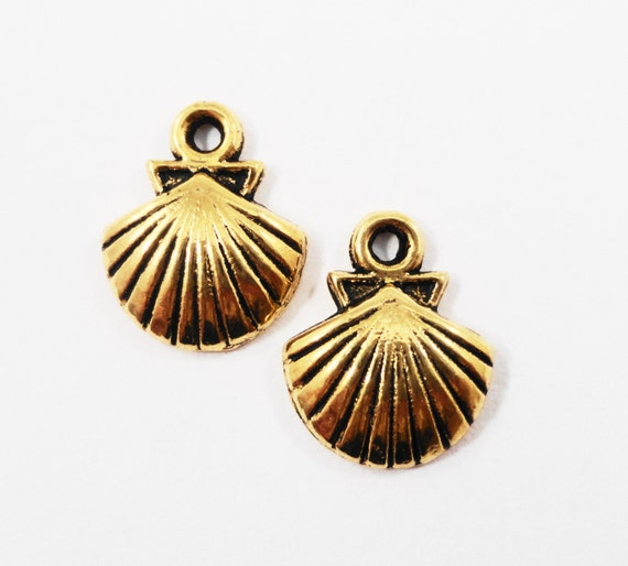 Gold Seashell Charms 14x11mm Antique Gold Shell Charms, Beach Charms, Gold Seashell Pendants, Nautical Charms, Ocean Metal Charms, 10pcs