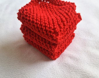Red Knit Dish Cloth, Set of 2, 3, or 4 Cotton Red Knit Wash Cloth, Gift For Her