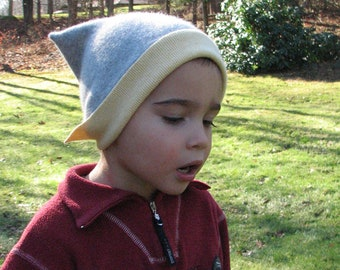 Upcycled Cashmere Children Hat - Grey and Yellow - Size 2 T/ 3T