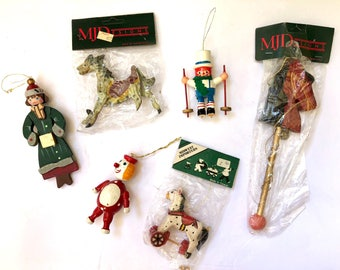 Vintage Wood Christmas Ornament Collection, Set of 6