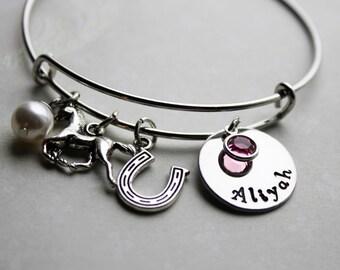 horse name bracelet, horse name jewelry, horse bangle, horse jewelry, horse theme bracelet, horse charm bracelet,little girl horse jewelry