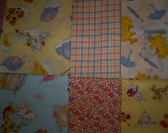 6 - 1/2 yard Pieces Baby Fabric. 3 yards total.