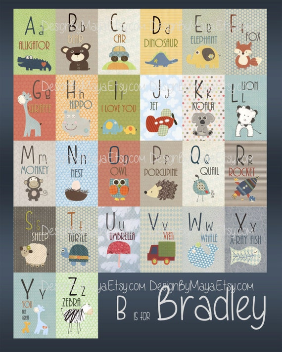 ABC Name Art Wall Art Baby Names ABC Wall Art Alphabet Wall