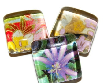 Chiyogami Glass Magnet Set, Set of 3 Magnets, Floral Glass Magnets, Refrigerator Magnets, Office Magnets, Fridge Magnets