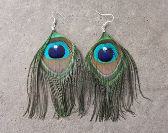 Blingy Peacock Feather Earrings with Swarovski Crystal