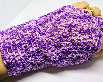 Purple crochet wrist warmers
