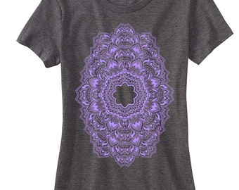 Women's REPEATER Mandala T-Shirt Psychedelic Sacred Geometry Dotwork Style Tee