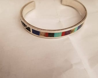 Native Anerican Sterling inlay cuff bracelet