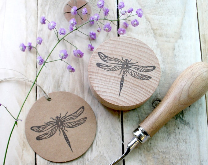 Dragonfly - Insect Stamp - Dragonfly Stamp - Insect Stamp - Pond Insect Stamp - Stamping - Hand Carved Rubber Stamp - Little Stamp Store