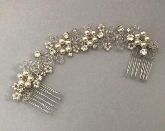 Flower Bridal Hair Vine, Pearl Hair Vine, Crystal Hair Vine, Silver Hair Vine, Bridal Headpiece, Silver Headpiece, Bridal Hair Comb