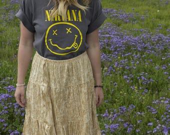 Vintage Cream Velvet Maxi Skirt