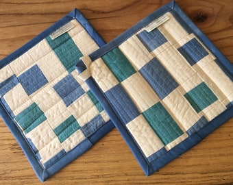 Quilted Pot Holder, Organic Cotton Trivet, Mug Rug, Hostess Gifts, Housewarming Gifts, Ready to Ship