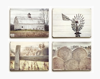 Farmhouse Decor Wood Plank Sign Set: Rustic Art Country Print Set of 4 Wood Signs, Farmhouse Wall Art, Country Decor, Barn Decor, Wood Art.
