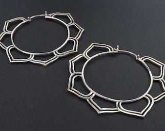 Large Hoop Earrings - Sterling Silver - Mandala Earrings - Yogi Jewelry - Statement piece - Tribal Gypsy Earrings (S190)