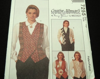 McCall's Creative Woman's Vest Pattern 7255 Size 10 By Nancy Zeiman