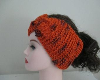 Knit Ear Warmer Headband  Orange and Purple Clemson Earwarmer Headband Turban Ponytail Hat