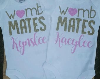 Womb Mates, Twins Bodysuits, Twin Baby Shower Gift, Womb Mates Twins, Personalized Twin Bodysuits, Twin Coming Home Outfits