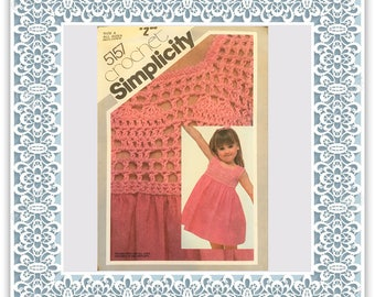 Simplicity 5157 (1981) Child's sundress with crochet bodice - Vintage Uncut Sewing Pattern