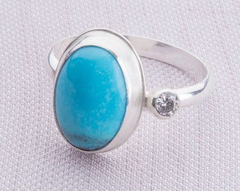 Turquoise Ring Set in Sterling Silver Band,  Eco-Friendly
