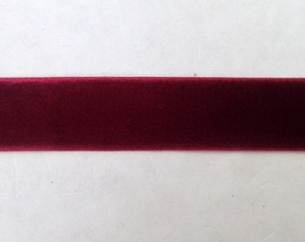 "3 Yards Burgundy Velvet Ribbon 5/8"" inch Wide SHIPS FROM USA"