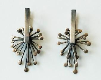 Large Oxidized Sterling Silver Earrings, Drop Earrings, Latch Back Earrings, Kinetic Earrings, Handmade Earrings, Festive Party Accessories