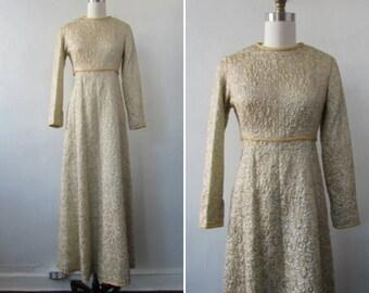 Vintage 1960s gold lame evening gown | vintage dress | gold formal dress | vintage party dress | gold party dress | Golden Luminary Dress