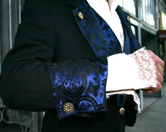 Up-cycled Navy Blue Pinstripe Smoking Jacket Appliqued with Black and Royal Blue Medieval Pattern Silk Brocade