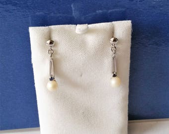 Earrings 835 silver Pearl & Sapphire shabby vintage SO197