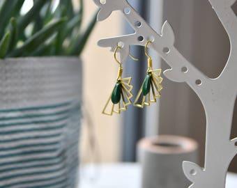 drop and gold plated geometric dangle earrings Green
