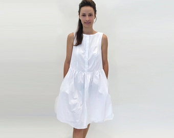 White Dress, New Years Eve Dress, Midi Dress, Sleeveless Dress, Tank Dress, Babydoll Dress, Gift, Lolita Dress, Light Dress, A Line Dress