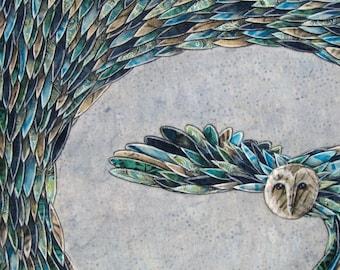Owl art print, blue night owl, kids room decor, wall art, moonlit feathers, archival 8.5 x 11 print