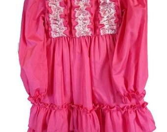 Girls Pink Taffeta Ruffle Dress Size 6