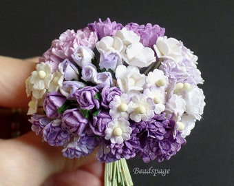 Miniature Flowers Sweet Purple White Bouquet Dollhouse Diorama Roombox DIY Craft Scrapbooking (see Item Details)