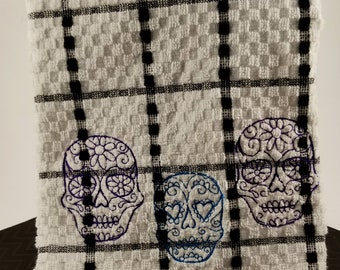 Sugar Skull Embroidered Kitchen Towel. Gothic Decor.