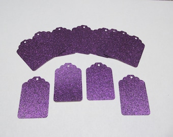 5, 10, 25, Grape/Purple Glitter Tags - Favor Tags - Price tags - Jewelry Tag - Thank You Tags - Wedding - Bridal Shower Tag - Gift Tags