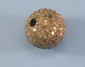 Pave Diamond Bead 12 mm sterling silver