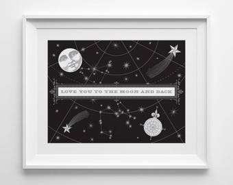 Nursery Wall Art, Black and White Baby Shower Gift, Love You To The Moon And Back Print, Stars and Moon Nursery Decor, Silver Constellation