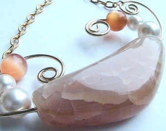 Orange Natural Agate Stone Necklace, Peach Necklace, Agate Necklace, Natural Stone Necklace, Unique Design, Handmade, Wire Wrapped, Gold