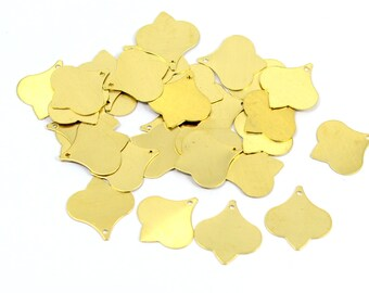 50 Pcs. Raw Brass 14x15 mm Brass Charms Findings  1 Hole