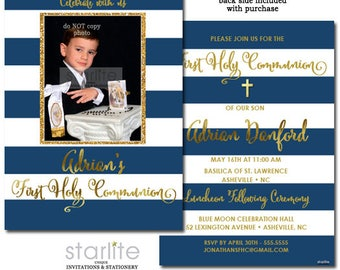 First Communion Invitation Boy with Photo, Photo First Communion Invitation Boy, 1st Communion Invitation Navy Blue and Gold Printable