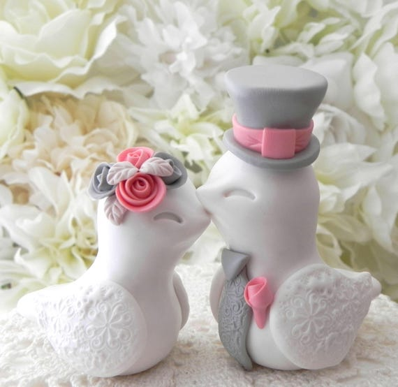 Love Birds Wedding Cake Topper, White, Coral and Grey, Bride and Groom Keepsake, Fully Customizable